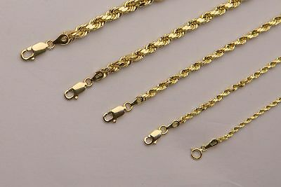 "BRAND NEW 14K Yellow Gold 2mm-5mm Italy Rope Chain Twist Link Necklace 16"" - 30"""