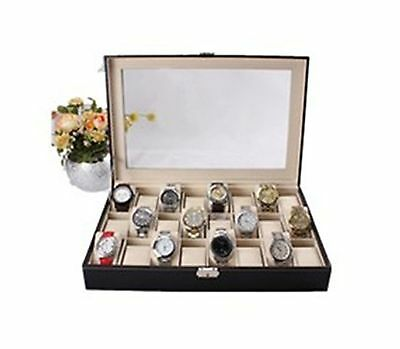 Revesun Watch Box Large 24 Mens Black Leather Display Glass Top Jewelry Case ...