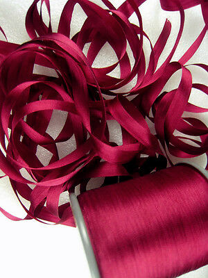 """YLI #50 Pure Silk Japanese Embroidery Ribbon Rich Deep Red 7mm 1/4"""" wide"""