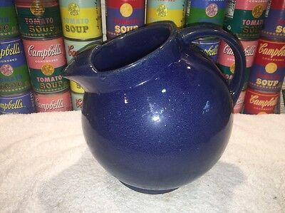 Nice Vintage Art Deco Depression era McCoy Cobalt Blue Ice Lip Ball Pitcher