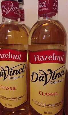 Two Hazelnut Coffee Flavouring Syrup Davinci Gourmet 750ml Bottles Cafe Gift