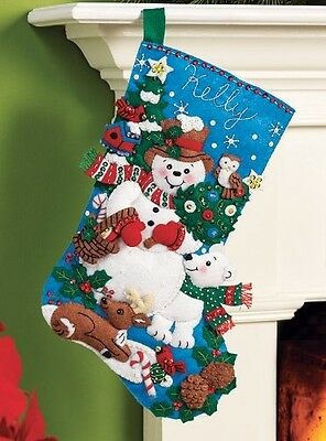 Bucilla Felt Applique Christmas Stocking Kit: Snow Friends. Delivery is Free