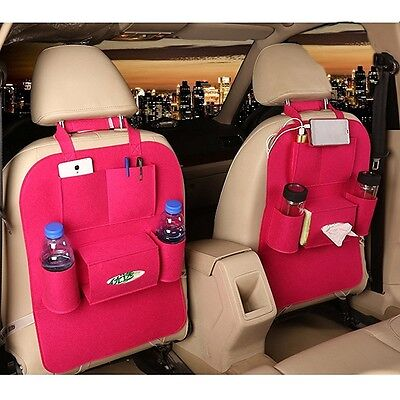 M'Baby Car Back Seat Organiser Woollen Felt Seat Pocket Protector Storage for Bo