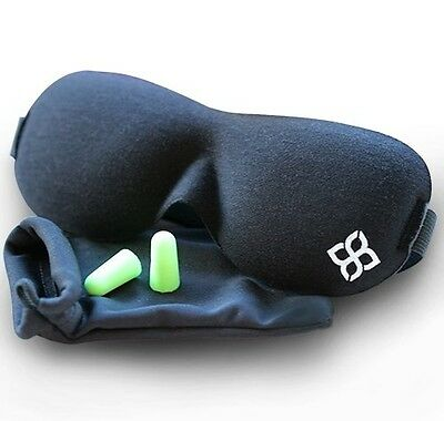 Black Sleep Mask by Bedtime Bliss® - Contoured & Comfortable With Moldex® Ear