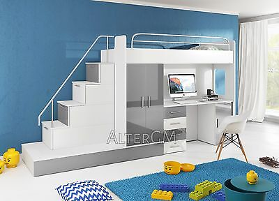 ALTA 5 bunk bed, 2 kids sleeper, Wardrobe, Desk, High Bed, childrens bedroom set