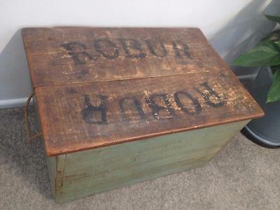Old Vintage Antique Industrial Rare Robur Tea ? Crate Box Wooden Timber Case