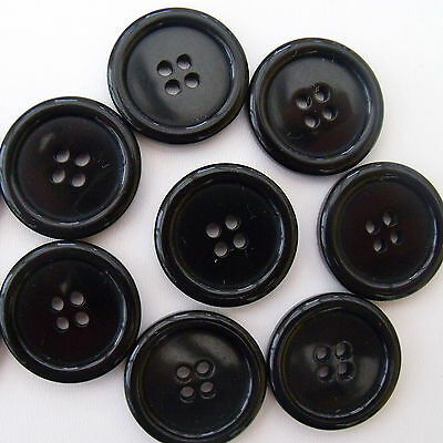 5 x  black coat buttons 20 mm ( size 32)  4  holes newfor sewing / craft