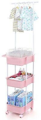 Tenby Living Nappy Caddy & Nursery Organiser with Clothes Rack & Hangers, Pink.