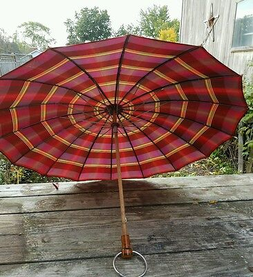 Vintage umbrella Parasol Plaid Fabric Wood Lucite Handle Metal Hanger Ring 1920s