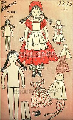 "Vintage 1941 15"" Stuffed Rag Doll And Clothes Pattern 2375"