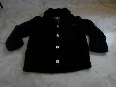 Baby Boy 12 Months Beautiful Ralph Lauren Navy Blue Cable Knit Cardigan Sweater