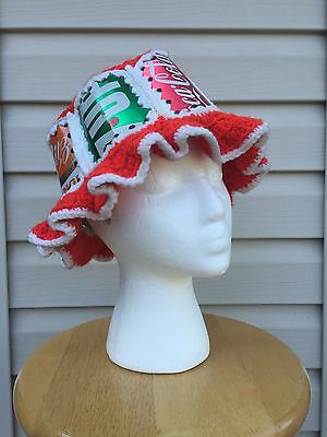 Vintage Coca Cola 7Up Mr Pub Can Knit Crochet Hat Hippy Soda Pop