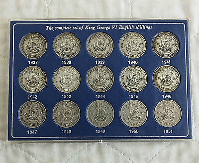 KING GEORGE VI COMPLETE ENGLISH SHILLING COLLECTION 1937 -1951 10 x SILVER