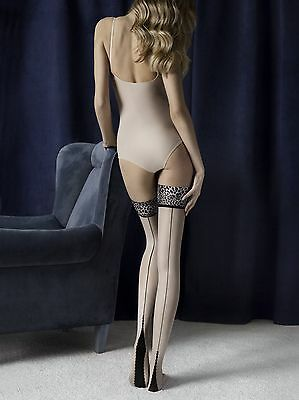 Fiore Lust Stay Up Silicone Animal Print  Stockings Fine European  3 Sizes Linen