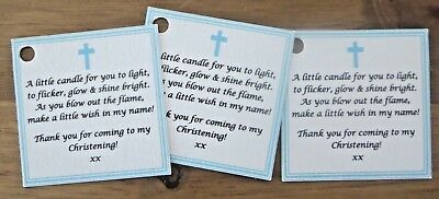 CHRISTENING / BAPTISM CANDLE FAVOURS GUEST LABELS ** TAGS  -Can be personalised