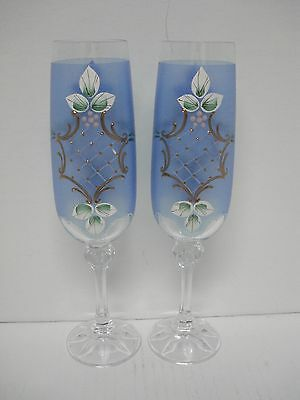 Pair of Blue Bohemian Crystal Champagne Flutes