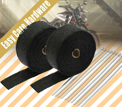 2 pack 2000F BLACK EXHAUST HEAT WRAP 50MM X 15M + 20 STAINLESS STEEL TIES CABLE