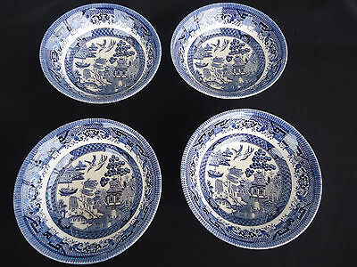 4 churchill england blue willow pattern cereal bowls mint unused cond