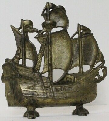 antique bronze  big old sailing ship  door stop