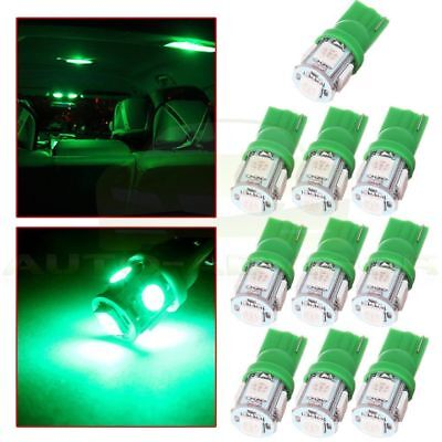 10Pcs T10 158 194 Green W5W 5SMD LED Instrument Dash Panel Light Lamp For Chevy