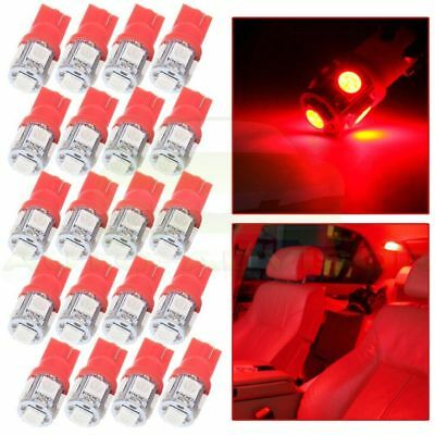 20Pcs T10 W5W 194 158 5SMD LED Instrument Cluster Dash Light Bulbs Red For Chevy