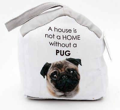 Dog Lover Christmas Present Gift Pug Door Stop Stopper Fabric Shabby French New