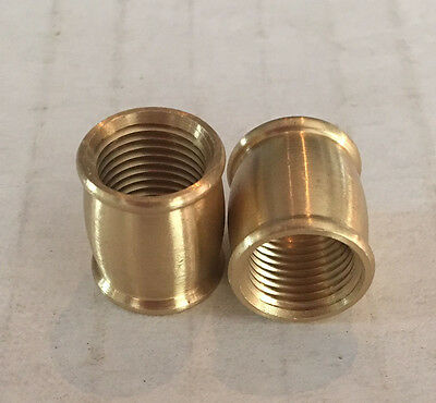 LOT OF 2 SOLID BRASS BARREL COUPLING tap 1/8F BURNISHED LACQUERED