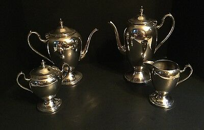 Vintage Academy Silverplate Silver on Copper 4 Piece Tea Coffee Set EXC