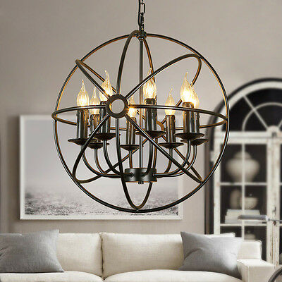Wrought Iron Orb Chandelier Industrial Sphere Pendant Light Lighting Fixture