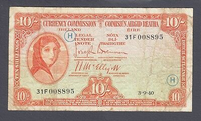 Ireland Lady Lavery 10 Shillings 1940 With WAR Code ( H ) Pick-1C Rare
