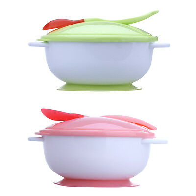 Lovely Baby Infants feeding Bowl With Sucker and Temperature Sensing Spoon Cover