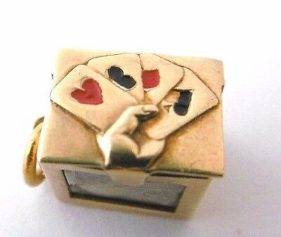 Vintage PACK OF PLAYING CARDS IN 9ct gold MAGICIAN's  BOX miniature opens charm