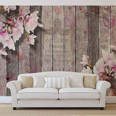 Flowers Wood Planks WALL MURAL PHOTO WALLPAPER (3352DK)