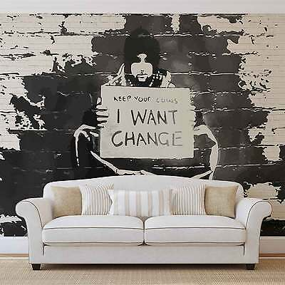 Banksy Graffiti Brick Wall WALL MURAL PHOTO WALLPAPER (2897DK)