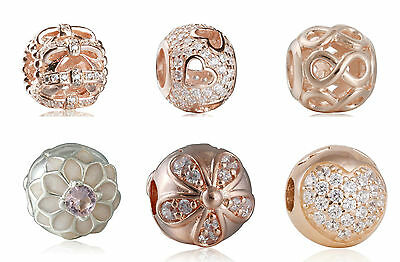 authentic sterling silver with Rose Gold Pave CZ Ball Charm Charms Jewelry