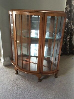 Bow fronted vintage display cabinet, ideal upcycle project