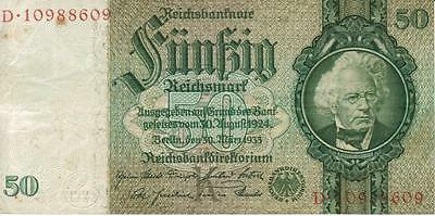 100% Authentic Fifty  50 German Reichsmark note from WW 2, 139