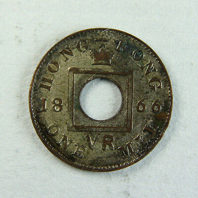 1866 Queen Victoria Hong Kong 1 Mil; Old album collection!
