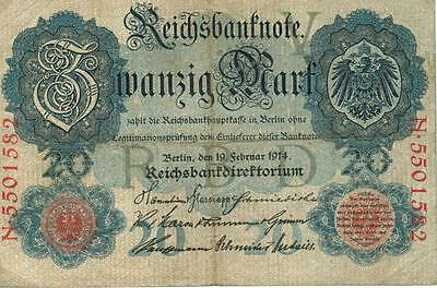 Authentic 20 Reichsmark note from Germany 1914 German Empire, 74