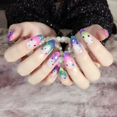 Rainbow Fake Finger Nails Round Sequins Decoration Press-on Nails Pointed Z260