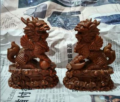Chinese Boxwood   Carving Fengshui Lion Fu Foo Dog Guardion Beast Statue Pair