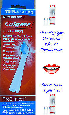 Colgate Omron Triple Clean Electric Brush Heads - 1,2,3 or 4 heads available