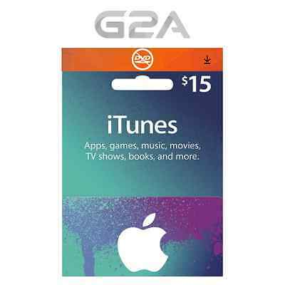 iTunes $15 USD Gift Card - 15 US Dollars USA Apple Store Code - Apple iTunes Key
