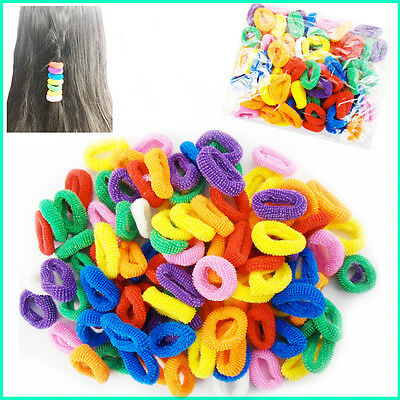 50 Hair Bobbles Elastic Kids Mini Ponio Ponytail Band Endless Snag Free Candy