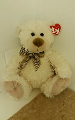 "Ty Classic BELVEDERE The Bear 10""  Cream Colored Stuffed Animal Plush"