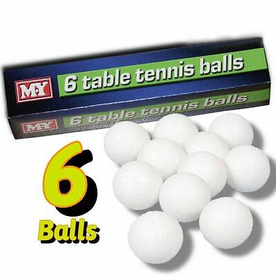 New Genuine M.Y Table Tennis Balls Ping Pong White 6pc in Pack Sports Games Fun