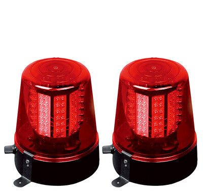 2 X Ibiza LED Red Beacon XL Rotating Police Style Light Disco DJ Effect Lighting