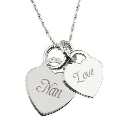 Nan, Love Double Heart Sterling Silver Necklace. Free Delivery