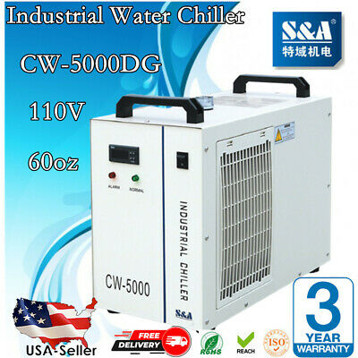 US Stock! CW-5000DG Water Chiller 110V 60Hz for 80W/100W CO2 Laser Tube Cooler -