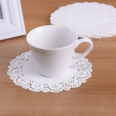 100pcs White Round Disposable Lace Paper Doilies Cake Placemats Crafting Coaster
